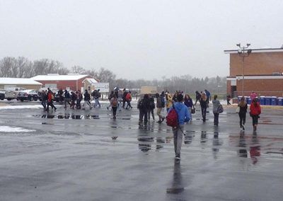 Students Walking in Inclement Weather